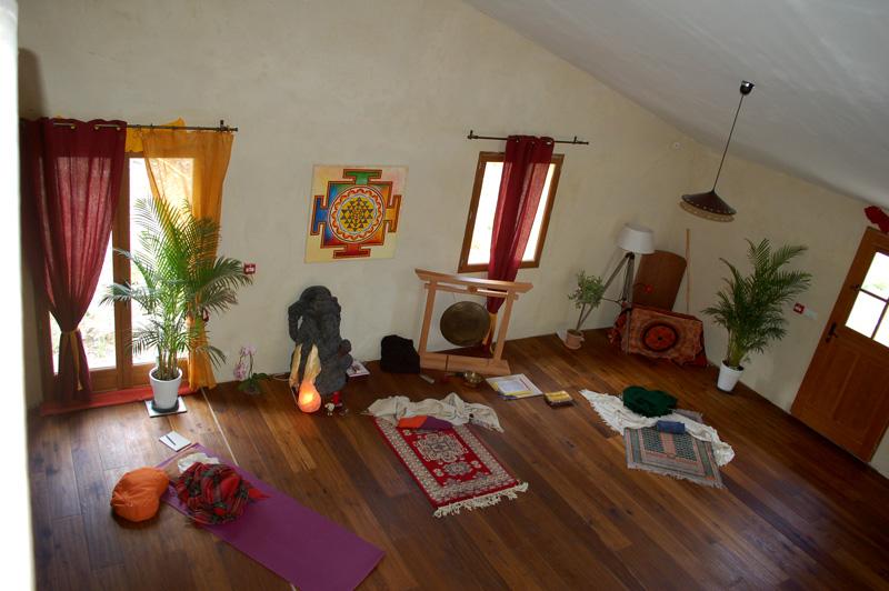 Stage de Yoga, la salle de pratique